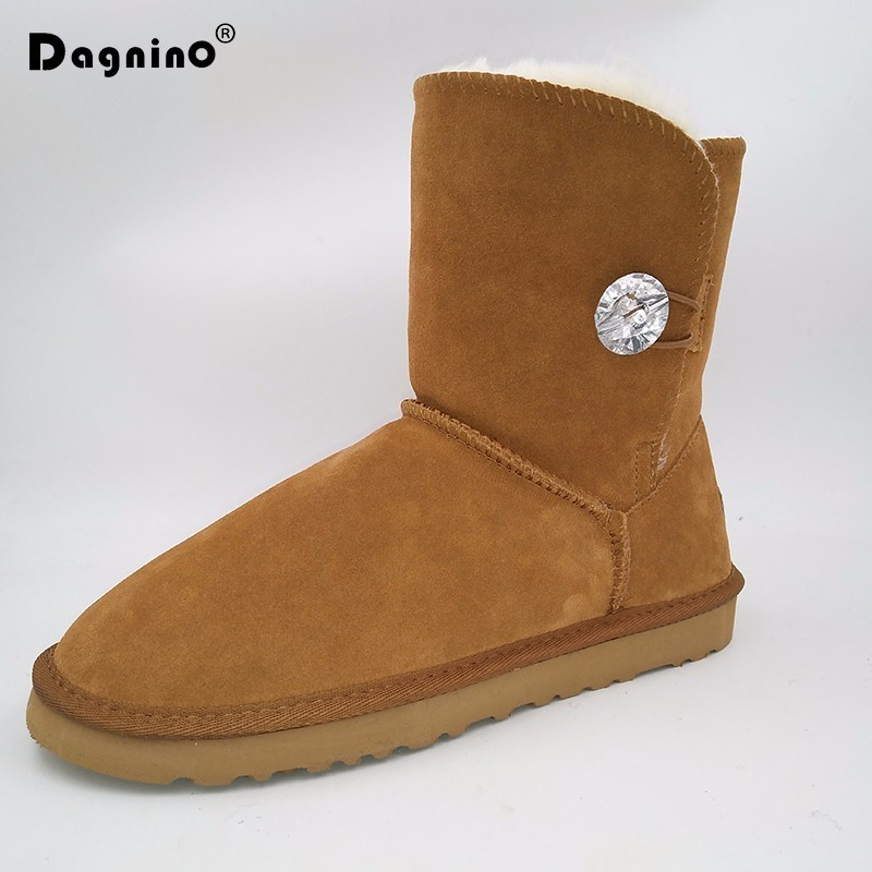 DAGNINO Brand Australia Plush Snow Boots High Quality Women Crystal Buttons Ug Style Genuine Cowhide Leather Winter Warm Shoes<br>