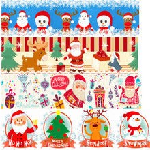 pick color size 16 25 38 50 75 mm width Christmas Day Xmas Printed polyester Grosgrain Ribbon or Satin Ribbon C01(China)