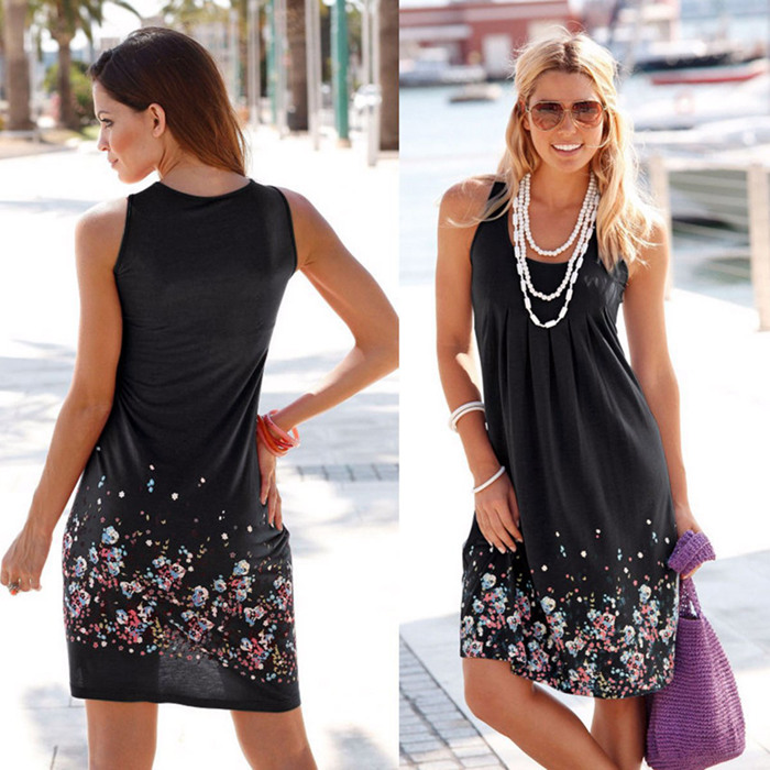 Sleeveless Floral Print Loose Beach Summer Dress Fashion Six Colors Casual Women Dress 19 Sexy Dress Plus Size S-5XL 6