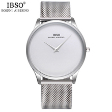 IBSO New Top Brand Fashion Mens Watches Stainless Steel Mesh Strap Sport Style Business Watch Men Best Gift Drop Shipping(China)