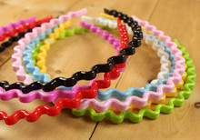 Korean Fashion Adult 1 Pc Candy Color Wavy Hair Head Hoop Solid Headband Women Hairband Polyester Hair Accessories Freeshipping