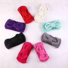 1 pcs Cute child baby knitting wool hair bows crochet hair band Infant Children Baby Gair Head bands Headwear(China)