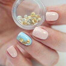40Pcs Mixed Size Color Shell Shape Nail Decoration Shiny Mini Metal Shell UV Gel Studs