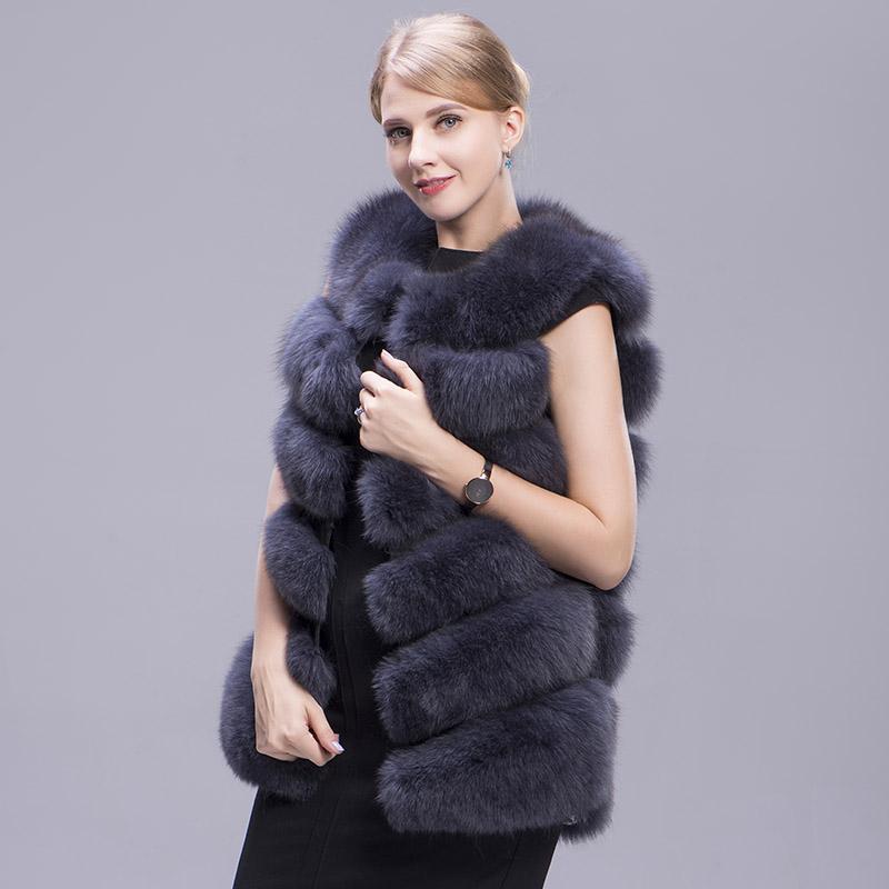 fox fur vest 6 lines dark grey 5