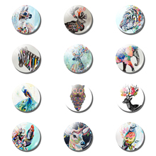 12pcs Cartoon Tiger Owl 25MM Fridge Magnet Peacock Kid Glass Dome Magnetic Refrigerator Sticker Holder Decor Christmas Accessory(China)