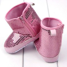 Infant Kids Baby Girl Sequins High Boots Soft Bottom Anti-slip Walking Shoes New Brand(China)