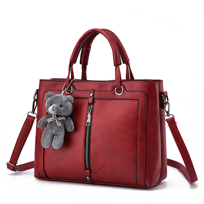 2017 Women Leather Bag Luxury Red Retro Vintage Bag Designer Handbags Cute Bear Famous Brand Tote Shoulder Ladies Hand Bag<br><br>Aliexpress