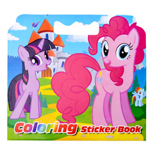 16 Pages Pony Coloring Sticker Book For Children Adult Relieve Stress Kill Time Graffiti Painting Drawing Art Book(China)