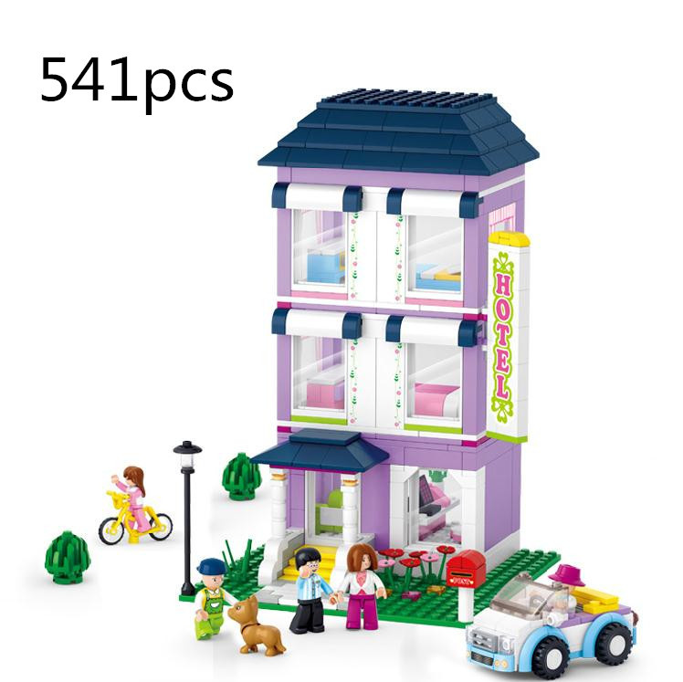 Sluban 541Pcs Princess Series Vacation Hotel Car Bike Educational Friends Toys Compatible With Legoe For Christmas Gifts<br>