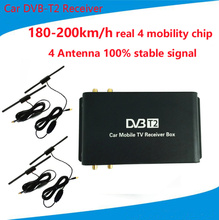 180-200km/h DVB-T2 Car 4 Antenna 4 Mobility Chip Tuner DVB T2 Car TV Receiver USB HDTV For Russia Thailand Singapore Colombia(China)
