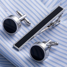 Drop Shipping Brass Necktie Set Tie Bar Cufflinks Tie Clip High Quality Onyx Cuff Links Tie Pin Men Jewelry 20