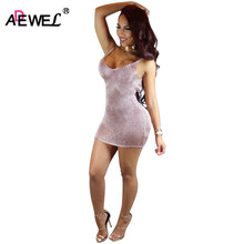 ADEWEL 2017 Sexy Pink Crochet Women Mini Dress Hot Summer Spaghetti Strap Open Back Bodycon Club Dress