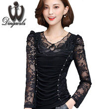 women 's clothing autumn and winter new casual lady long sleeve lace tops elegant female hollow out stitching lace blouse shirt(China)