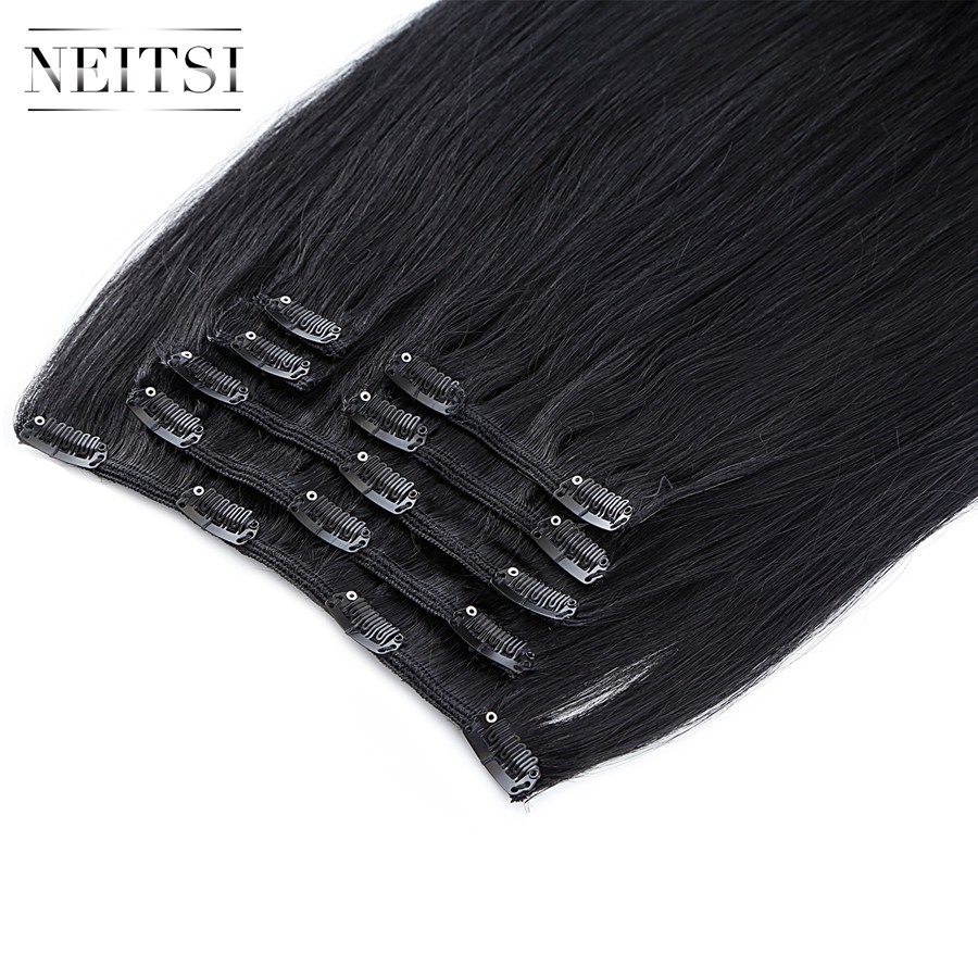 Neitsi Machine-Made Hair 16-Clips Remy Straight 100%Human-Hair-Extensions Full-Head 100g title=