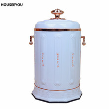 10L Portable European Gaebage Stainless Steel Embossed Waste Bins Advanced Storage Bucket Creative Fashion Household Trash Can(China)