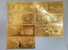 7PCS/SET Gold Paper Money US Foil Bill 100,50,20,10,5,2,1 U S  World Currency Banknotes Collections Crafts Gifts Size 6.5*15.5cm