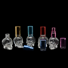 BP-1DHL Free Shipping 100Pcs8ML Skull Shape Glass Perfume Bottle 10 Colors Available Beautiful Empty Glass Spray Cosmetic Bottle