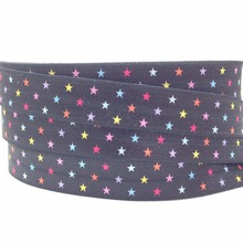 "New Arrived 5/8"" Star Print Black Fold Over Elastic 10 yards Good Quality FOE Elastic Ribbon for Girls Hair Tie DIY Head wear(China)"