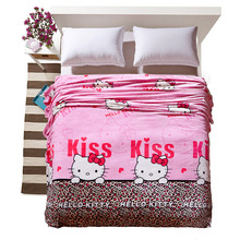 Pink printed cartoon child lovely hello kitty pattern girl boy bed blanket plaids and bedspreads to king bed sofa travel flannel