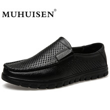 MUHUISEN Men Loafers Summer Casual Boat Shoes Fashion Genuine Leather Slip Driving Shoes Hollow Breathable Flats