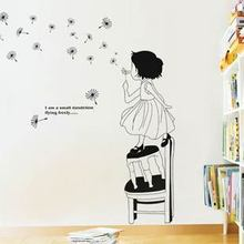 Cartoon Dancingly Girl Dandelion Wall Sticker Children Room Furnishing Decor Romantic Fashion DIY Waterproof Removable MeleStore