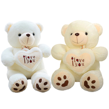 1pc 50cm&70cm Stuffed Plush Toy Holding LOVE Heart Big Plush Teddy Bear Soft Gift for Valentine Day Birthday Girls' Brinquedos(China)