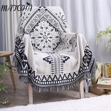 Matcha 2017 New Product Modern Simple Geometric Black White Diamond Soft 100% Spring Autumn Knitted Thread Blanket Sofa Towel(China)