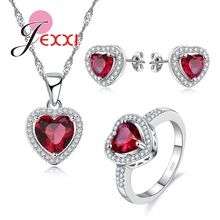 JEXXI Fashion Princess Cut Heart Red CZ Stud Earrings Rings Pendant Necklace 925 Sterling Silver Jewellery Sets Woman