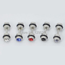 24 colors for choose 4mm Width Black Circle Austrian crystal titanium dumbbell Men Women pierced stud earrings