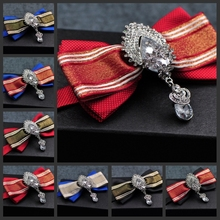Free shipping new fashion Necktie man business marry dress wedding Groomman Bow tie Brooches tie pocket towel set male handmade(China)