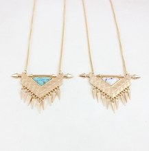 fashion costume jewellery accessories gold  triangle stone necklaces
