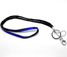 New Product 1pcs Blue Color Bling Bling Lanyard Crystal Rhinestone Lanyard in Neck with Claw Clasp For ID Badge Holder