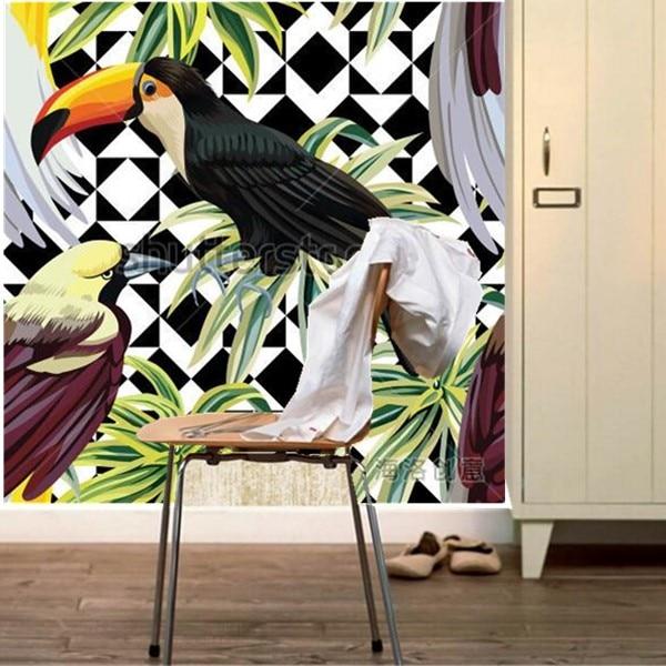 Custom 3d murals,tropical birds and plants pattern papel de parede,living room sofa TV wall bedroom waterproof pvc wallpaper<br>