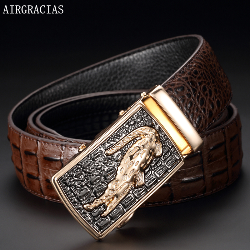AIRGRACIAS Men Genuine Leather Belt Crocodile patt...