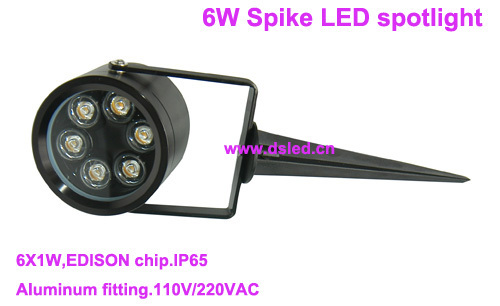 Free shipping !! outdoor Good quality 6W Spike LED spotlight,LED spike spotlight,waterproof,110-250VAC,DS-07-1A-6W,EDISON chip<br>