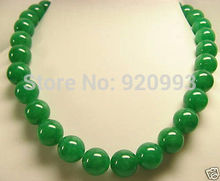 "free shipping WholesaleBeautiful GREEN 12mm Beads Necklace 18""AAA+G+R+ET+Y ()(China)"