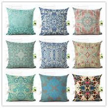 2016 New Arrival 45x45  Retro Pattern Print Fundas Cotton Linen Cushion Cover Soft Pillow Sofa Cushion Square Cojines