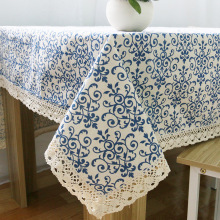 Retro Blue and White Table Cloth with Lace Cotton Print Classic Linen & Cotton Rectangular Dinning Tablecloths Cover Home Decor