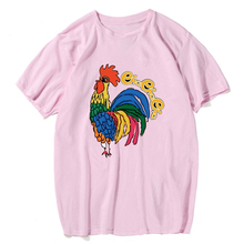 Hip Hop Pink Mens Fashion The Colorful Cock Printed Mens Barcelona Shirt Short Sleeve Funnny Brand Fake Designed Clothes Top(China)