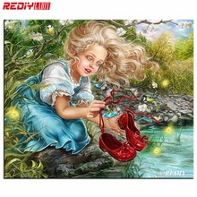 5D Diamond Painting Cross Stitch Mosaic Kits Needlework Girls with Red Shoes Painting Rhinestones Diamond Embroidery Home Decor