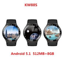 Hot Selling KW88S Smart Watch Android Bluetooth Smartwatch Phone 1.33 inch support 3G wifi Heart Rate for Mobile phone PK KW88(China)