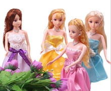 4 pcs Hot-Selling  play house Girls Birthday Gift Educational princess top grade gown (doll+clothes) For 30CM Barbie toy Doll