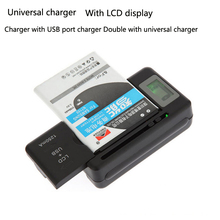 Universal LCD Display Mobile Charge Seat Adapters Cell Phone Battery Wall Travel Charger with USB Port US EU AU UK Plug(China)