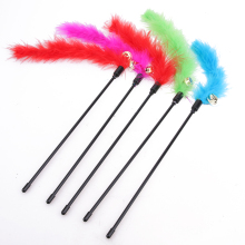 5pcs Plastic Pet Cat Toys Cat Kitten Pet Teaser Turkey Feather Interactive Stick Toy Wire Chaser Pet Products Funny Toys