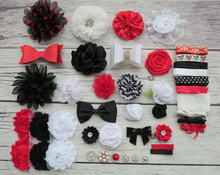 Shower Headband Station Kit,DIY Headband Making Kit,First Birthday Party Headband Kit,Hair Bow Kit ,black,white,red,S48