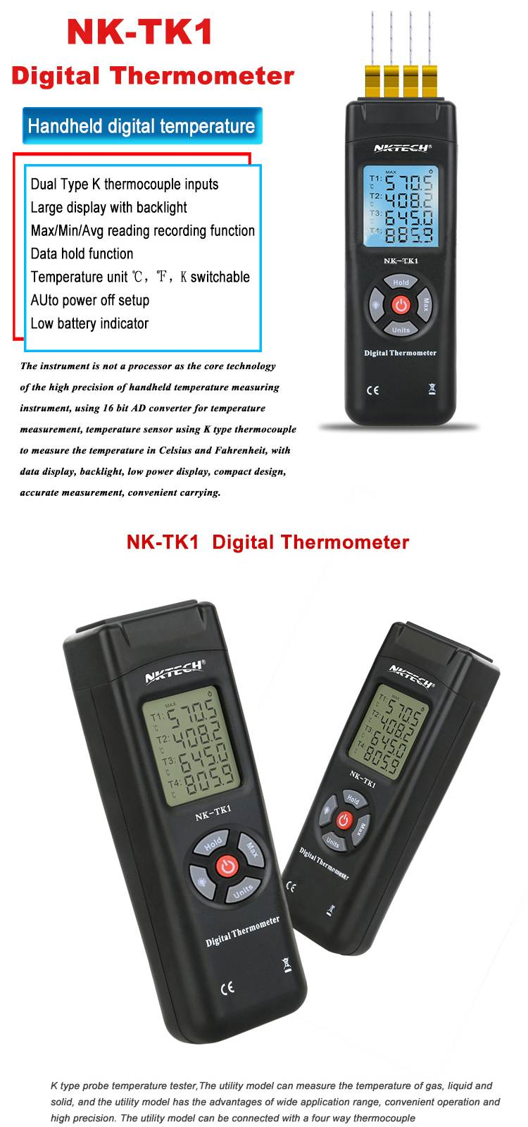 NK-TK1 4 Channel Digital Thermometer Temperature Meter Handheld Thermometer K Type Thermocouple Sensor for Industury Instrument
