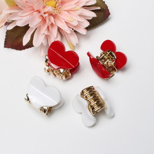 4pc/pack 2mm Heart-shaped Mini Hair Clip Cute Heart Acrylic Hair Claw Candy Color Hair Band Clip Gold Plated Claw Girl hair Claw