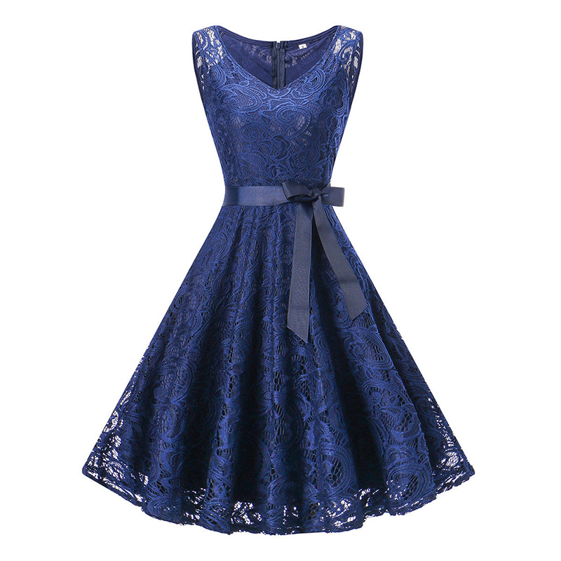 Women Vintage Lace Dress Sleeveless V-Neck vestidos Elegant Plus Size Womens Clothing Woman Summer Casual Cocktail Party Dresses