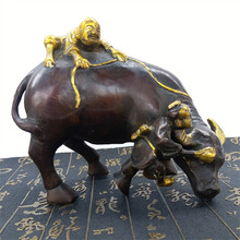Antique Handmade Crafts copper metal cow sculpture figures decorated Feng Shui objects(China)