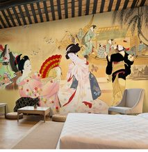 Japanese Restaurant Sushi Restaurant Restaurant Wallpaper Retro Nostalgic Japanese Ladies Large Mural, Wallpaper
